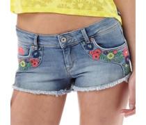 Damen Folkloric Low Rise Denim Hotpants Mittelblau