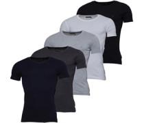 Fünf Pack T-Shirt Graumeliert
