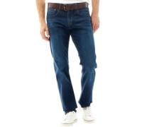 Herren Stretch Fit Zip Fly Stretch Jeans mit geradem Bein Dunkelblau