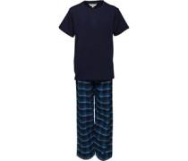 Jungen Tee And Pant PJ Set Nachthemd Navy