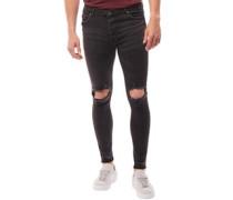 Herren Stone Zerrissen Skinny Jeans Dark Charcoal