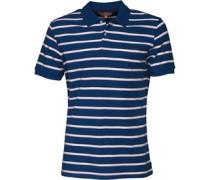 Herren Pique Stripe Polohemd Blau