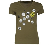 Damen Button Graphic T-Shirt Khaki