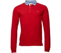 Herren Solid Rugby Hemd Rot
