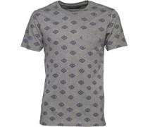 Mens Berdan All Over Print T-Shirt Mid Grey Marl/Navy