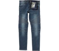 Crosshatch Mens Rancho Biker Fit Jeans Stonewash