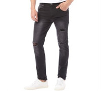 Herren Torn Ripped Jeans in Slim Passform Schwarz