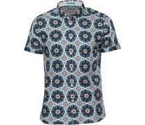 Ted Baker Mens Evafter Large Tile Print Shirt Teal
