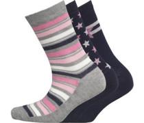 Damen 3 Pack Socken Mehrfarbig