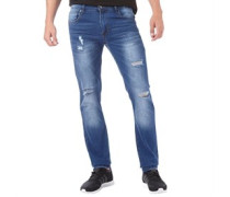 Herren Torn Ripped Jeans in Slim Passform Mittelblau