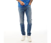 Larkee 084QQ Jeans mit geradem Bein Verblasstes Mittel