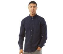 Plain Flannel Hemd mit langem Arm Navy