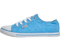 Damen Broderie Anglaise Freizeit Schuhe Blues