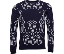 Lyle And Scott Vintage Mens Abstract Christmas Jumper New Navy