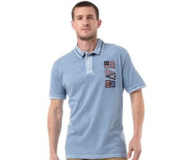 Herren Eastham Flags Pique Polohemd Blau