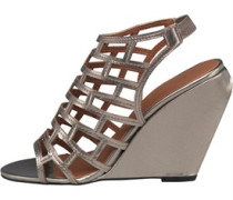 Paper Dolls Womens Gladiator Wedge Sandals Pewter
