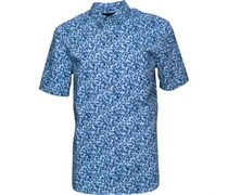 French Connection Herren Print Hemd mit kurzem Arm Hellblau