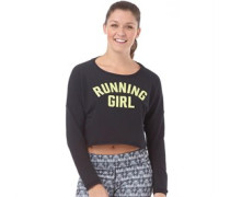 Damen Run Crop Sweatshirt Black