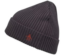 Original Penguin Mens Basic Rib Beanie Phantom/Red