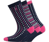 Original Penguin Womens 3 Pack Socks Check/Spot/Stripe Navy
