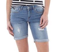 Damen Bermuda Denim Shorts Blau