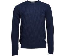 Bellfield Herren Geysir Textu Crew Neck Pullover mit Rundhalsausschnitt Blau