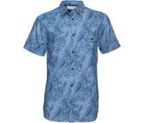 Kangaroo Poo Herren Printed Hemd mit kurzem Arm Blau