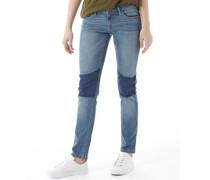 Damen Fashion Jeans mit geradem Bein Denimmeliert Blau