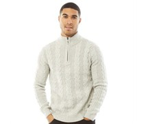 1/2 Zip Cable Pullover Steingraumeliert