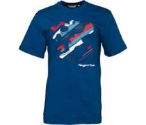 Kangaroo Poo Herren Splat Logo T-Shirt Blue