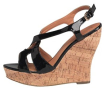 Little Mistress Womens Cork Wedge Sandals Black