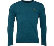 Herren Slub Directional Stitch 12GG Pullover mit Rundhalsausschnitt Blaugrün
