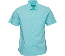 Baumwolle/Leinen Hemd mit kurzem Arm Minz