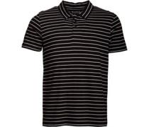 Herren Yarn Dyed Striped Polohemd Schwarz