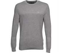 Lyle And Scott Vintage Mens Rib Placement Jumper Mid Grey Marl