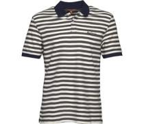 Herren Pique Stripe Polohemd Dunkelblau