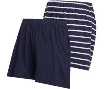 Zwei Pack Stripe/Plain Jersey Shorts Navy
