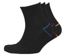 Herren 3 Pack Quarter Socken Schwarz