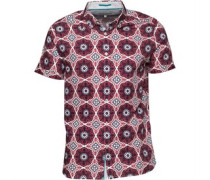 Ted Baker Mens Evafter Large Tile Print Shirt Red