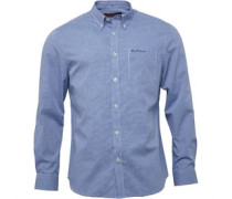 Herren Mini Gingham Hemd mit langem Arm Directoire Blue