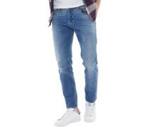 Mens Sleenker Slim Fit Jeans Mid Light Blue Wash