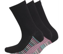 Damen 3 Pack Socken Schwarz
