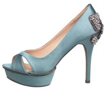 Little Mistress Damen Heel Detail Peep Toe Pumps Blau