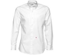 Moschino Herren Button Down Collar Solid Hemd mit langem Arm Weiß