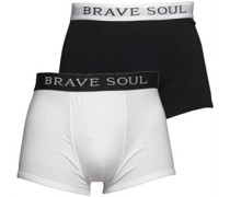 Mens Brook Two Pack Boxers Black/White