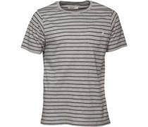 Herren Yarn Dyed Striped T-Shirt Graumeliert