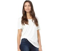 Brave Soul Womens Scoop Neck T-Shirt Cream