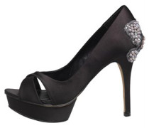 Little Mistress Damen Heel Detail Peep Toe Pumps Schwarz