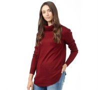 Brave Soul Womens Long Line Roll Neck Jumper Deep Red