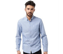 Original Penguin Herren Brushed Oxford tains Hemd mit langem Arm Blau